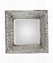 "Jacenia 39"" Wall Mirror in Lightly Antiqued Metallic Silver Leaf"