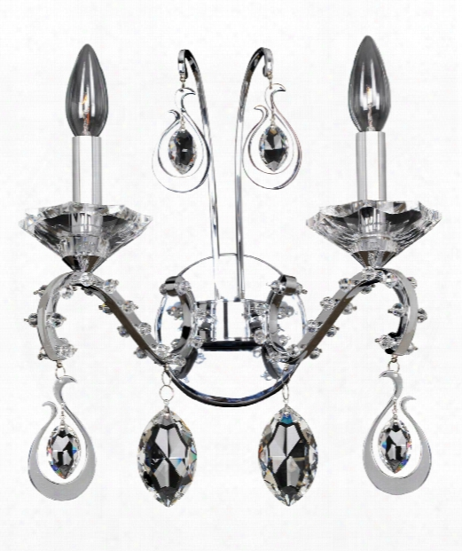 "Torrelli 14"" 2 Light Wall Sconce In Polished Chrome"