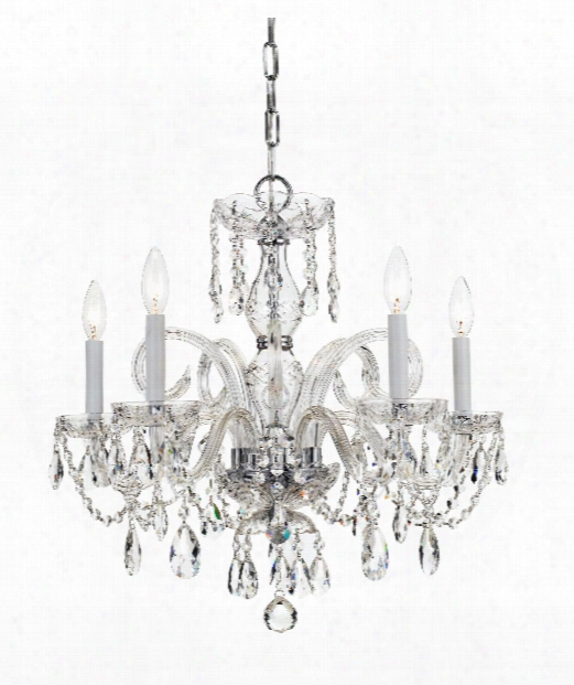 "Traditional Crystal 22"" 5 Light Chandelier In Polished Chrome"