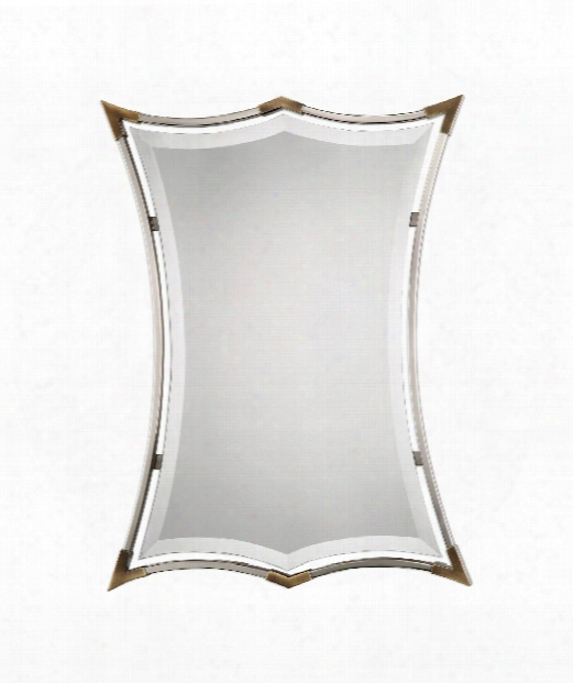 "Verity 23"" Wall Mirror In Plated Brushed Nickel-antiqued Brass"