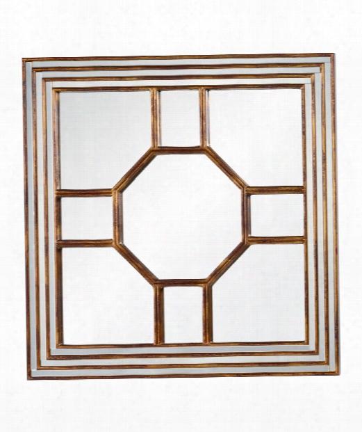 """Arabella 40"""" Wall Mirror In Antiqued Gold Leaf-burgundy"""