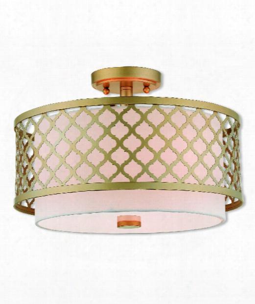 """Arabesque 15"""" 3 Light Semi Flush Mount In Soft Gold"""