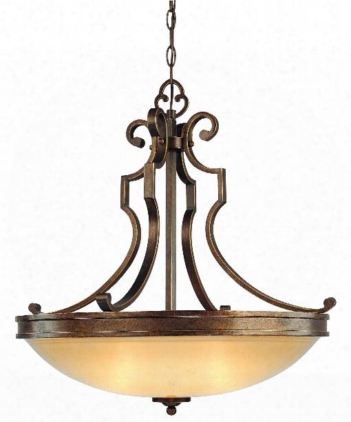 "Atterbury 25"" 3 Light Large Pendant In Deep Flax Bronze"