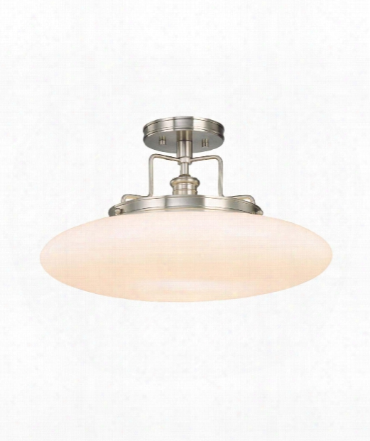 "Beacon 18"" 1 Light Semi Flush Mount In Satin Nickel"