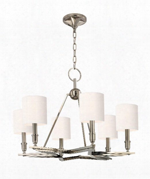 "Bethesda 31"" 6 Light Chandelier In Polished Nickel"