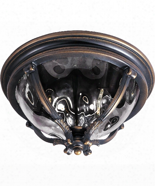 "Camden Vx 16"" 3 Light Outdoor Flush Mount In Golden Bronze"