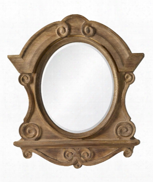 "Clary 36"" Wall Mirror In Natural Wood-brushed Gold-gray"