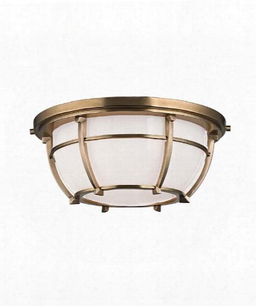 "Conrad 12"" 2 Light Flush Mount In Aged Brass"