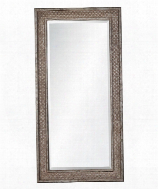 "Cormac 40"" Floor Mirror In Rusted Brown With Silver Highlights"