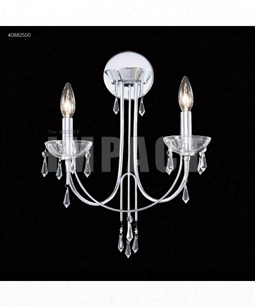 "Crystal Rain 14"" 2 Light Walll Sconce In Silver"