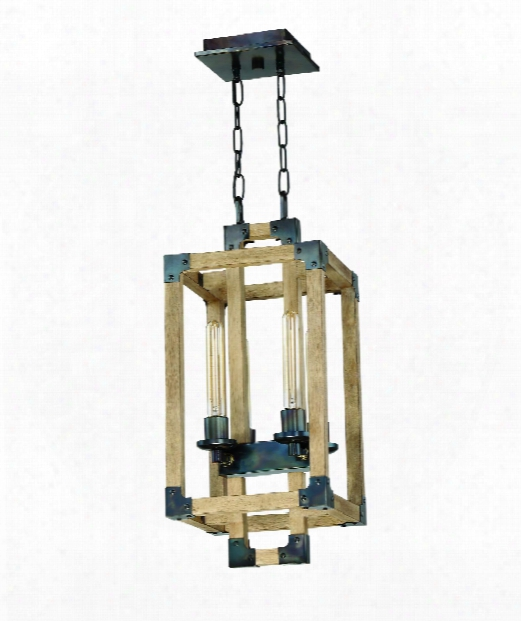"""Cubic 11"""" 4 Light Foyer Pendant In Fired Steel-natural Wood"""