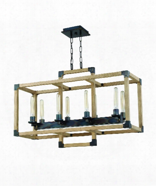 """Cubic 12"""" 8 Light Island Light In Fired Steel-natural Wood"""
