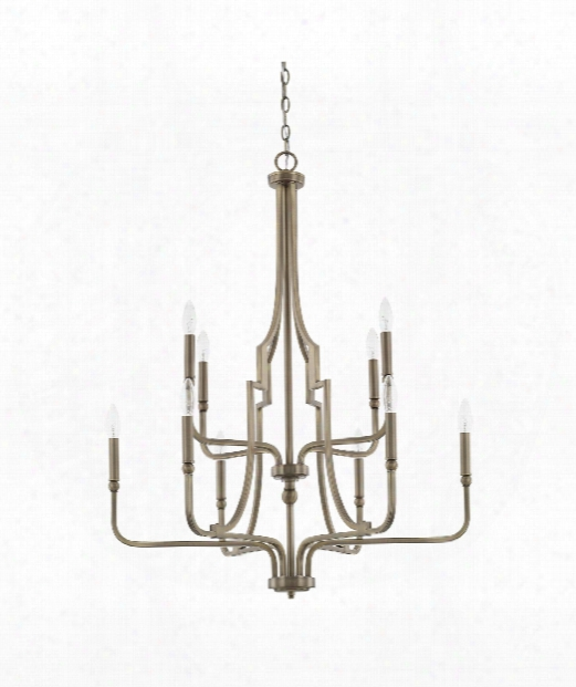 "Dawson 30"" 10 Light Chandelier In Aged Brass"