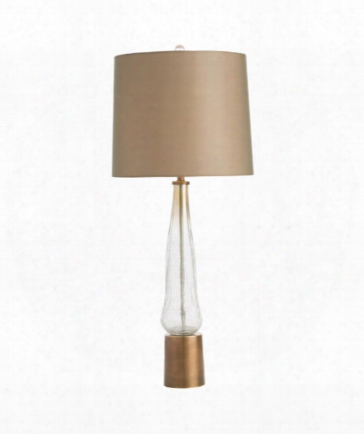 """Denise 14"""" 1 Light Table Lamp In Smoke Luster_clear-antique Brass"""