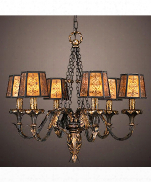"Epicurean 29"" 6 Light Chandelier In Charred Iron"