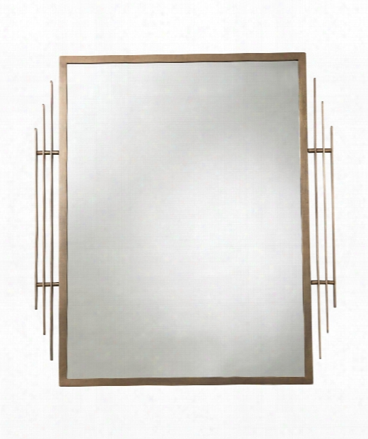 """Ines 36"""" Wall Mirror In Antique Brass"""