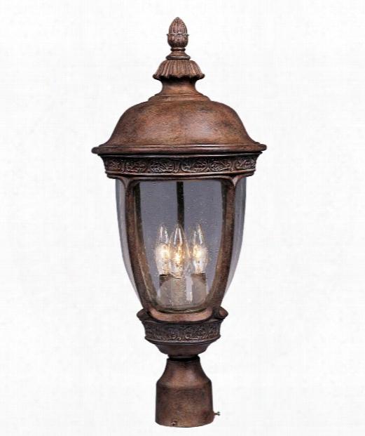 "Knob Hill Vx 10"" 3 Light Outdoor Outdoor Post Lamp In Sienna"