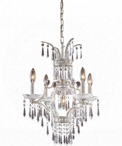 "La Fontaine 19"" 5 Light Mini Chandelier In Sunset Silver"