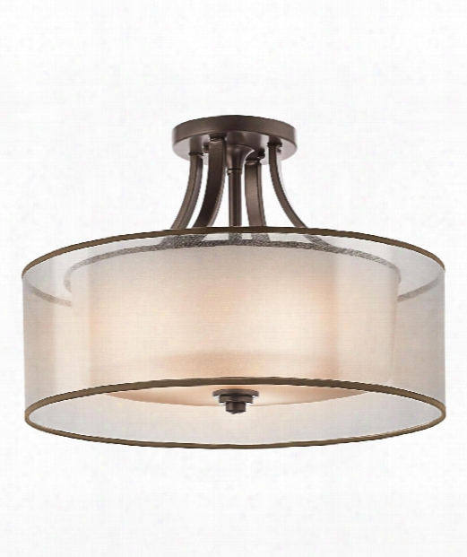 "Lacey 20"" 4 Light Semi Flush Mount In Antique Pewter"