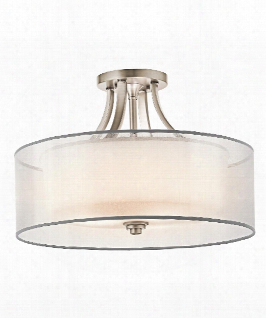 """Lacey 20"""" 4 Light Semi Flush Mount In Mission Bronze"""