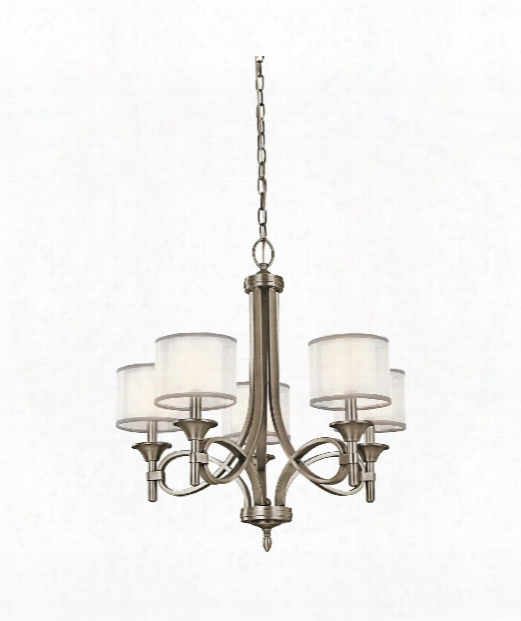 "Lacey 25"" 5 Light Chandelier In Antique Pewter"