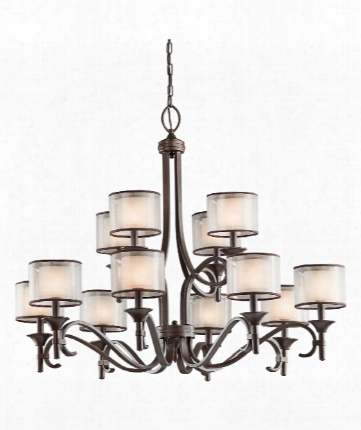 "Lacey 42"" 12 Light Chandelier In Mission Bronze"