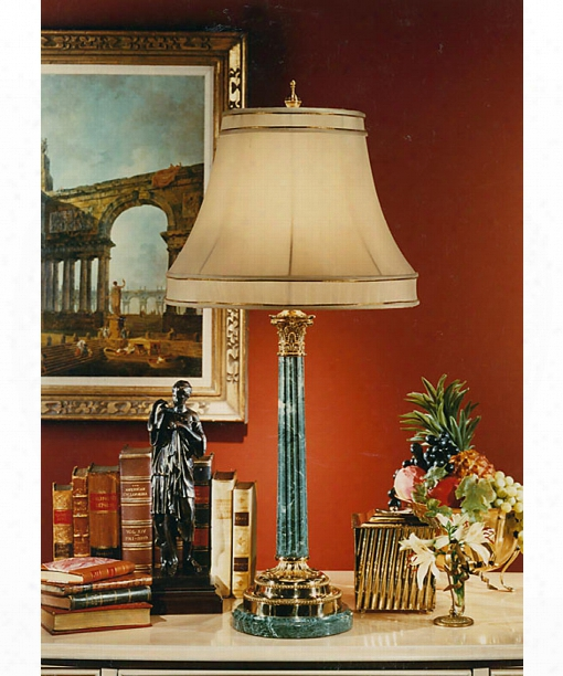 Marble And Brass 1 Light Table Lamp  In Cast Brass-quarry Marble