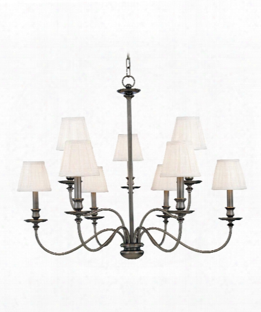 "Menlo Park 34"" 9 Light Chandelier In Antique Nickel"