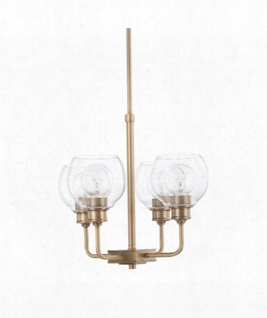 "Mid-century 17"" 4 Light Mini Chandelier In Aged Brass"