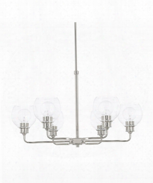 "Mid-century 30"" 6 Light Chandelier In Polished Nickel"