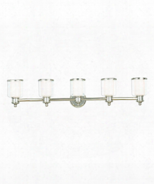 "Middlebush 45"" 5 Light Bath Vanity Light In Polished Nickel"