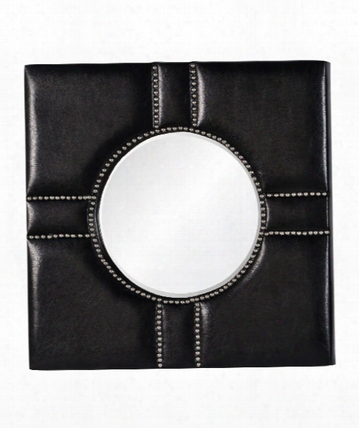 """Quentin 32"""" Wall Mirror In Silver Studded Black Leather"""