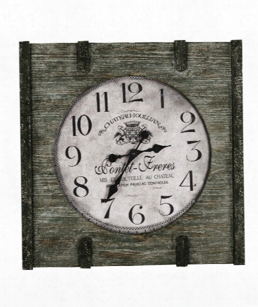 """St. Clair 24"""" Wall Clock In Distressed Wood"""