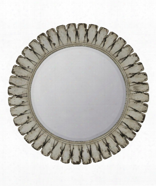 "Tagus 34"" Wall Mirror In Distressed Off White"