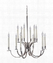 "Crescent 30"" 12 Light Chandelier in Polished Nickel"