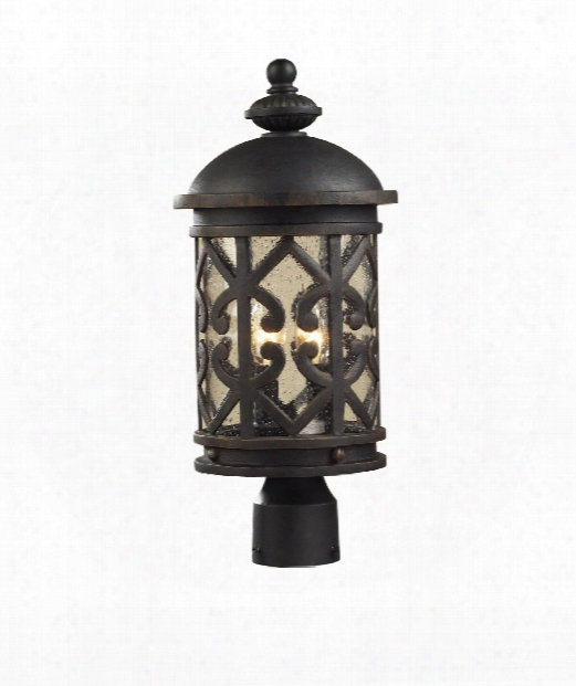 "Tuscany Coast 9"" 2 Light Outdoor Outdoor Post Lamp In Weathered Charcoal"