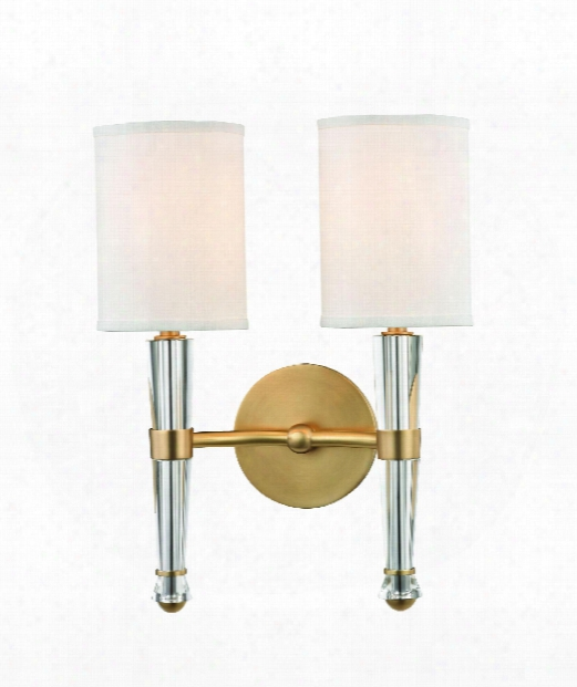 """Volta 12"""" 2 Light Wall Sconce In Aged Brass"""