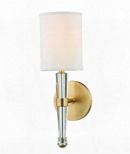 """Volta 5"""" 1 Light Wall Sconce In Aged Brass"""
