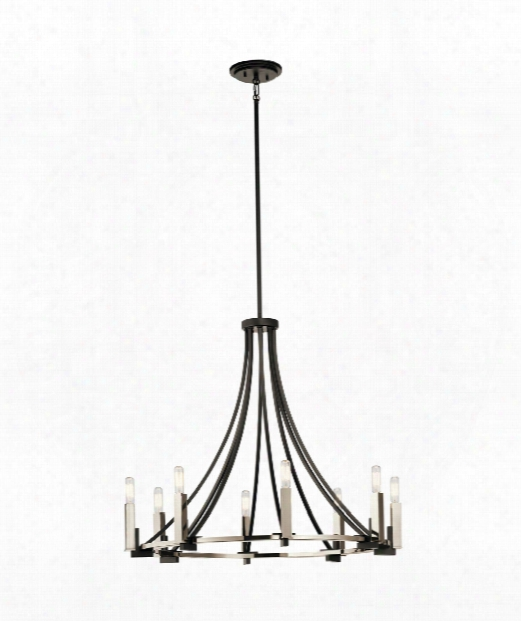 "Bensimone 30"" 8 Light Chandelier In Black"