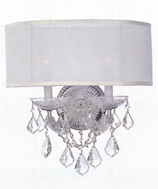 "Brentwood 16"" 2 Light Wall Sconce In Polished Chrome"