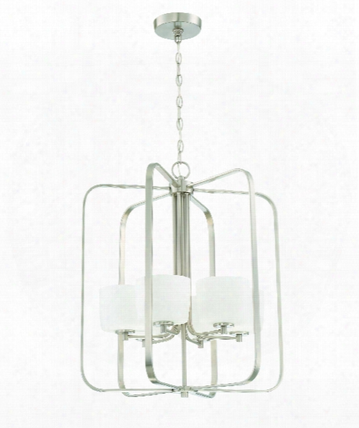 "Clarendon 22"" 6 Light Foyer Pendant In Brushed Polished Nickel"