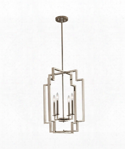 """Downtown Deco 18"""" 4 Light Large Pendant In Polished Nickel"""
