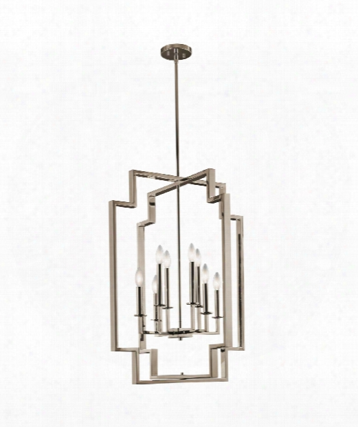 "Downtown Deco 24"" 8 Light Large Pendant In Polished Nickel"