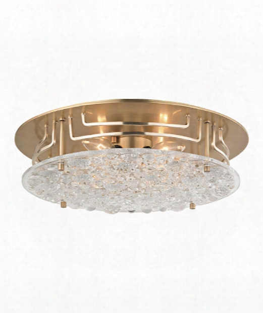 "Holland 16"" 4 Light Semi Flush Mount In Aged Brass"