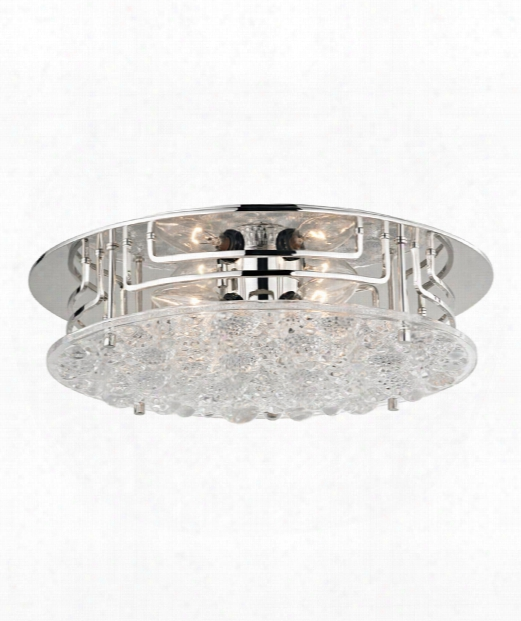 "Holland 16"" 4 Light Semi Flush Mount In Polished Nickel"