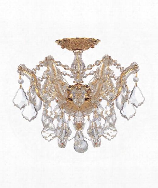"Maria Theresa 14"" 3 Light Semi Flush Mount In Polished Gold"