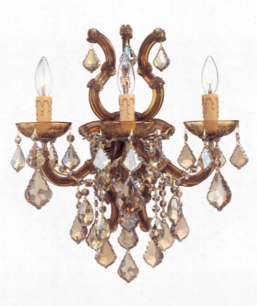 "Maria Theresa 17"" 3 Light Wall Sconce In Antique Brass"