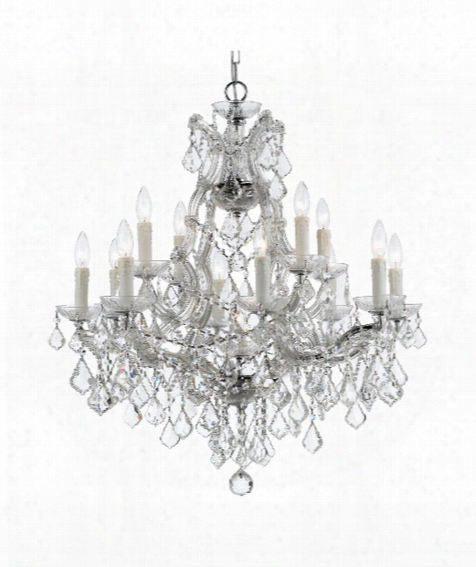 """Maria Theresa 29"""" 12 Light Chandelier In Polished Chrome"""
