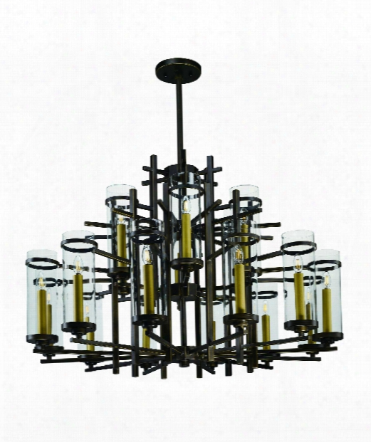 "Midtown 47"" Led 18 Light Chandelier In Gold Bronze"
