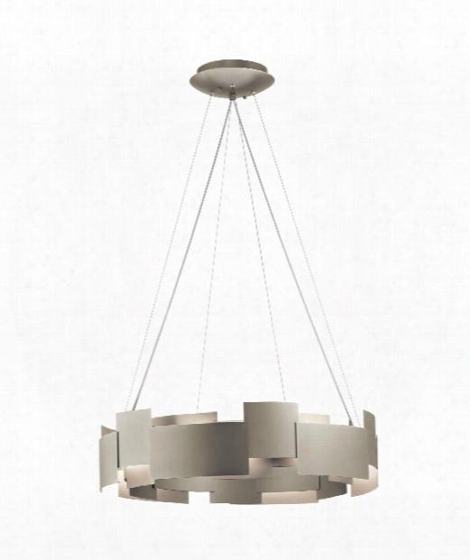 """Moderne 27"""" Led 2 Light Larrge Pendant In Satin Nickel"""